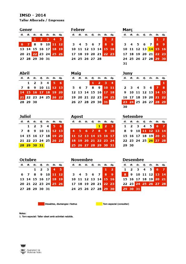 Calendari laboral Taller Alborada 2014